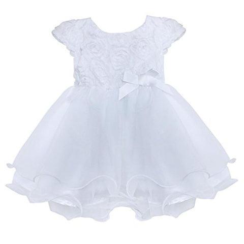 Freebily Infant Baby Flower Girl Dress Baptism Christening Gown Party Wedding Dress White 18-24 Months
