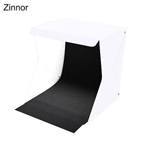 Zinnor Portable Photo Studio 20cm x 20cm Small Foldable Photography Lighting Tent Kit MINI Folding Table Top LED Light Camera Soft Box Kit with Black and White Background Cloth
