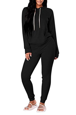 Selowin Women Casual Pullover Hoodie Sweatpants Two Piece Sport Trackusit Outfits Set S-XL