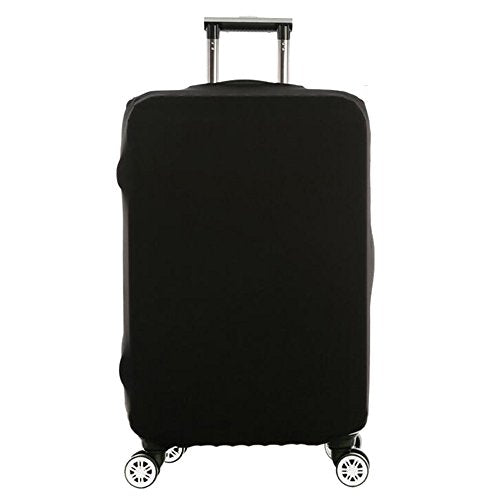 Wellbeing Travel Luggage Cover Spandex Protective Elastic Suitcase Protector Bag Washable Stretch Anti-scratch Soild Colors Fits 18-30 Inch (M, Black)