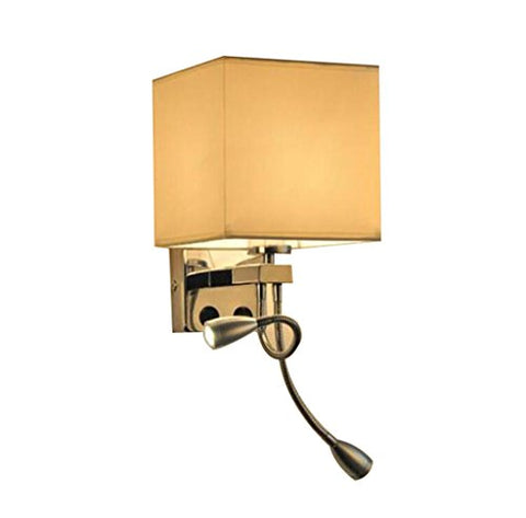 Fabric Wall Lamp, Modern Minimalist Beige Bedside Lamp Alloy + Fabric + Auxiliary Lamp Hotel Living Room Switch Creative Reading Aisle Lights (E27)