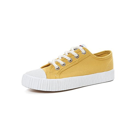 Women's Men's Casual Canvas Shoes Low Top Lace Up Flat Fashion Sneakers (Yellow 40)