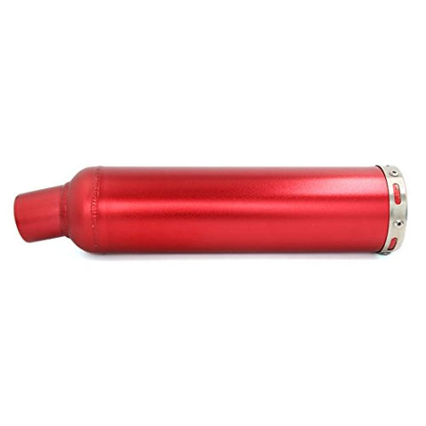 DealMux Universal Red Stainless Steel Motorcycle Exhaust Muffler Tip 395mm x 88mm