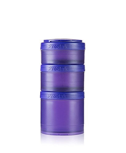 BlenderBottle ProStak Twist n' Lock Storage Jars Expansion 3-Pak with Pill Tray, Purple