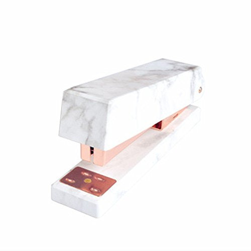 White Marble Stapler Heavy Duty, Desktop Staplers Rose Gold Tone Office Supplies with Non-slip Base