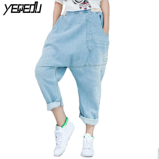 #3207 2018 Summer Casual Cross jeans women Baggy jeans women Denim harem pants Ladies ripped jeans Wide leg Distressed Hip hop