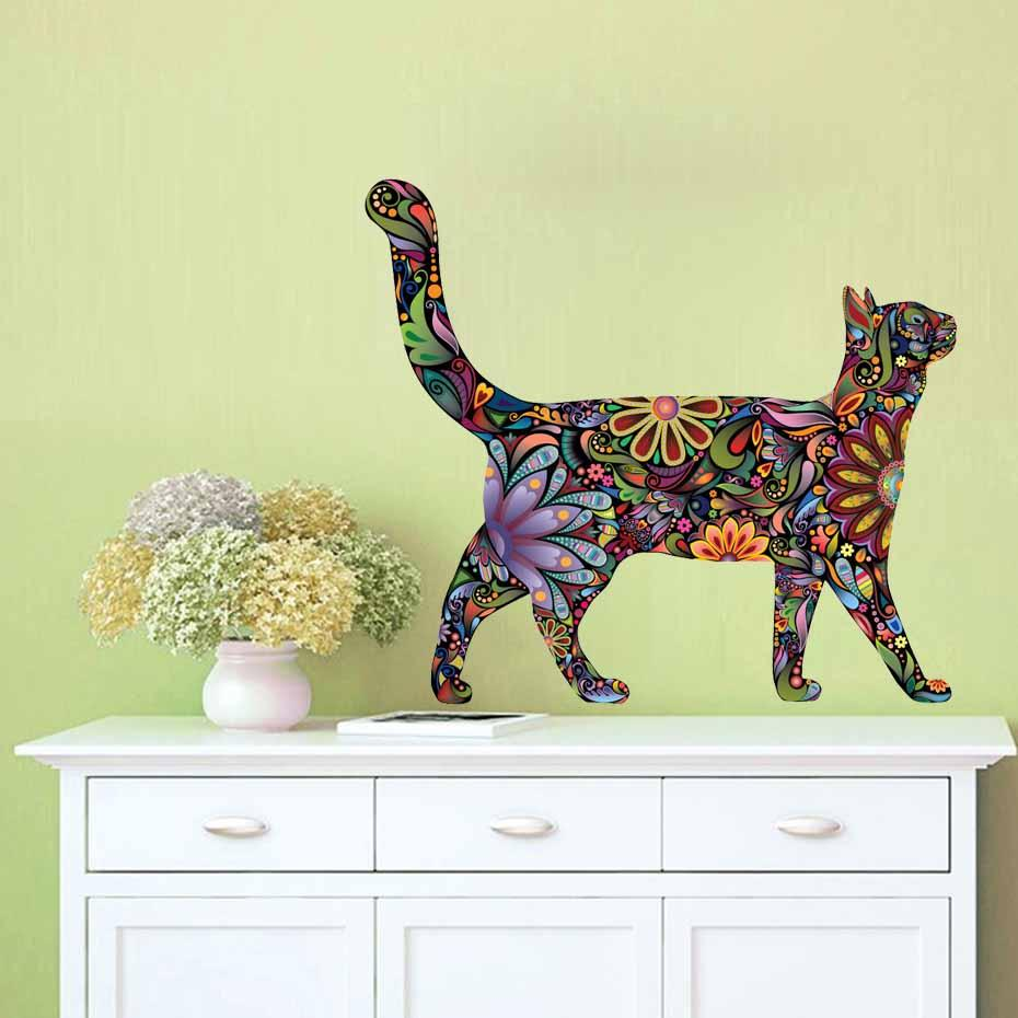 35x31cm Colorful Walking Cat Wall Sticker 3D Vinyl Removable Wall ...