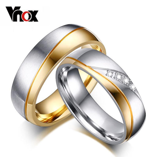 Vnox Women Man Wedding Ring Gold-color 316l Stainless Steel Lovers Promise Jewelry
