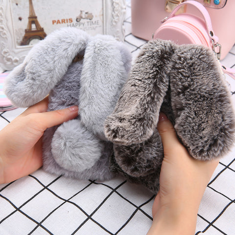 3D Cute Rabbit Hairy Warm Fur Case for iPhone 6 6S Plus Bling Rhinestone Plush Bunny Cover for iPhone6 For Girls