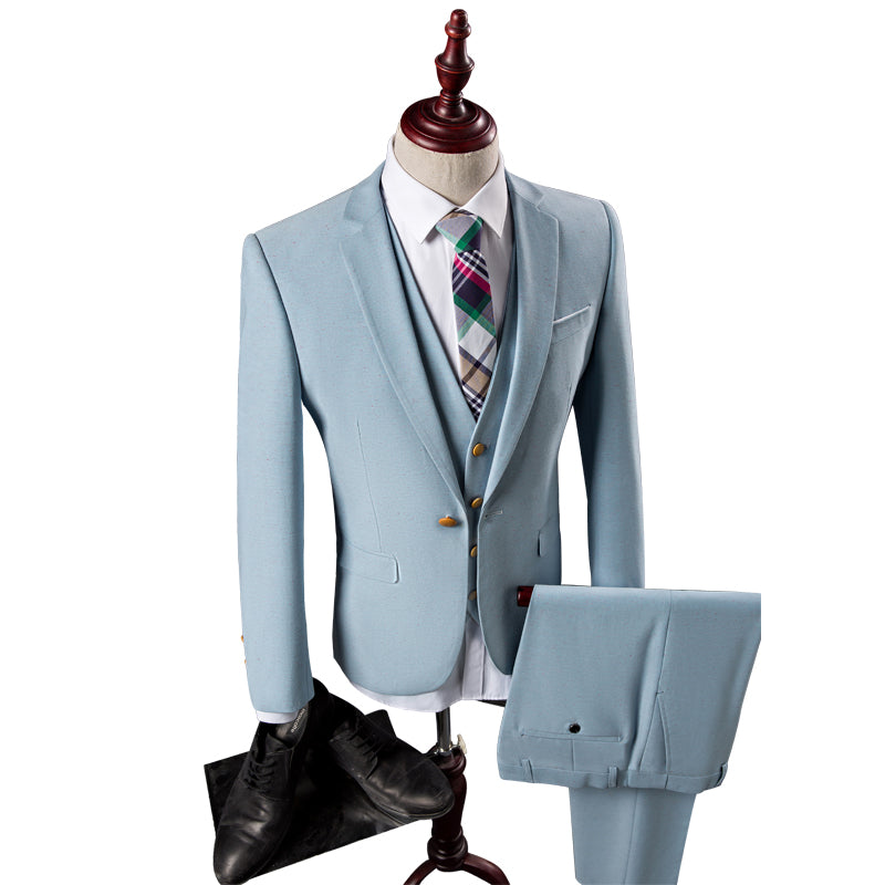 3pieces(Jacket+Pant+Vest)Men Suits Set Korean Slim Fit Suit Men ...