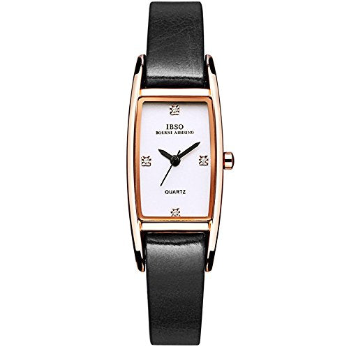 Ibso Women Rose Gold Watches Ladies Crystal Small Square Face Narrow