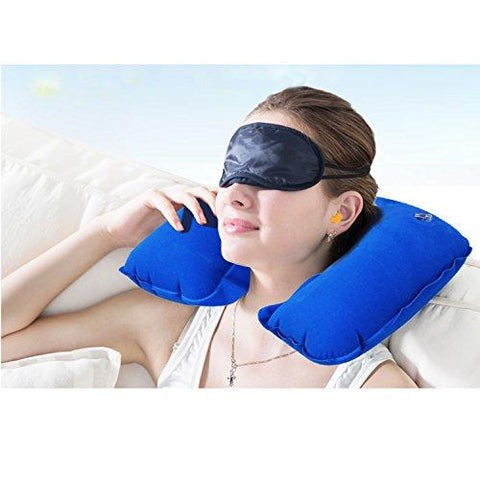 [Travel Must-have] 3 in 1 Handy Travel Kit, Inflatable Neck Pillow for Sleeping & Rest + Comfortable Eye Mask + Soft Noise-Blocking Earplugs, Great for Long Journey on Plane, Train, Coach and More