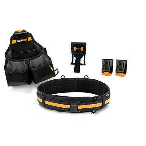 ToughBuilt - Builder Tool Belt Set - 4 Piece, Includes 1 Pouch, Padded Belt, Heavy Duty, Deluxe Organizer Premium Quality, Durable - 15 Pockets, Pry Bar Loop, 2 Patented ClipTech Hubs (TB-CT-102-4)