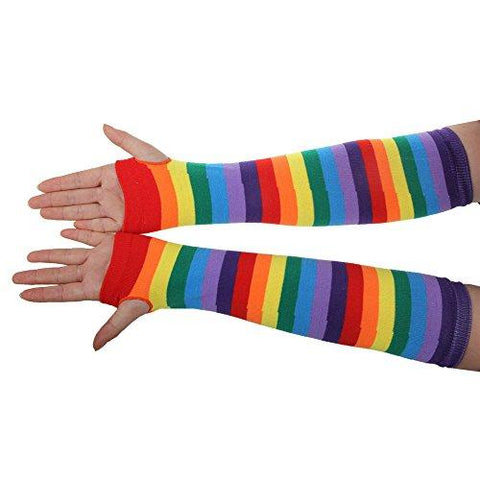 One Pair Womens Fashion Cosplay Colorful Striped Rainbow Knitted Thigh-high Long Stockings Fingerless Gloves