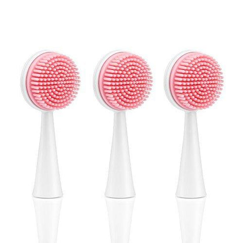 Wonyered 3- Pack Electric Facial Massage Brush Replacement Heads Face Care Massager Vibration Silicone Brush