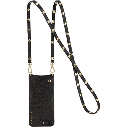 Phone Case for iPhone 8, 7 & 6 Genuine Black Leather Women Wallet GOLD Hardware. CrossBody Strap Mobile Protection for Cards & Cash. Mobile Device Purse Carry Hands-free. Sarah by Bandolier