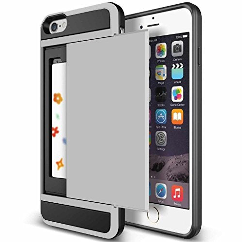 iPhone 6s Plus Case, Anuck Shockproof iPhone 6s Plus Wallet Case [Card Pocket] Anti-scratch Protective Shell Rubber Bumper Case with Slide Card Holder Slot for Apple iPhone 6 Plus 6s Plus - Silver