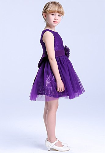 c6d4a55ade9 Bow Dream Flower Girl s Dress Short Sequins Tulle Purple 6 — KeeboShop