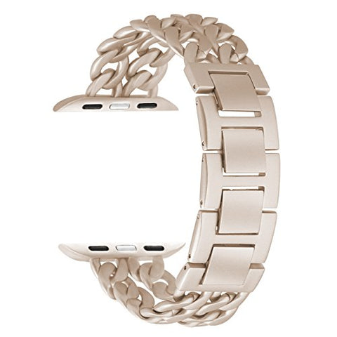 For Apple Watch Band 38mm women men, Stainless Steel Chains Style Jewelry Clasp Wrist Strap Bracelet for iWatch Series 3/2/1 Sport Edition, Resize with NO Tool Needed (Retro Gold, 38mm)