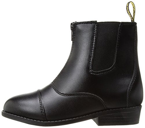 Saxon Girls Equileather Zip Front Boots, Black, Child Size 10