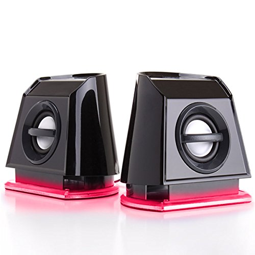 GOgroove 2MX Computer Gaming Speakers with Red LED Lights , Passive Subwoofer and Volume Control - Great with PC Monitor , 3.5mm USB Connection , AC Powered for Desktop and Laptop Computers