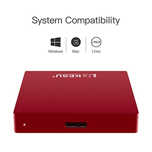 "2.5"" 250GB Portable External Hard Drive USB3.0 SATA HDD Storage for PC, Mac, Desktop, Laptop, MacBook, Chromebook, Xbox One, Xbox 360, PS4, PS4 Pro, PS4 Slim (Red)"