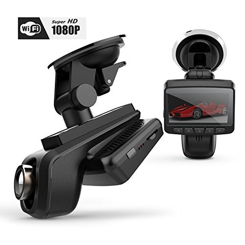 "WHLZD Car DVR Dash Cam, 2.45"" LCD, Full HD 1080P Dashboard Camera with Wireless WIfI, G-Sensor, WDR, Loop Recording Etc. Super Night Vision for Reduce Traffic Accident Disputes"