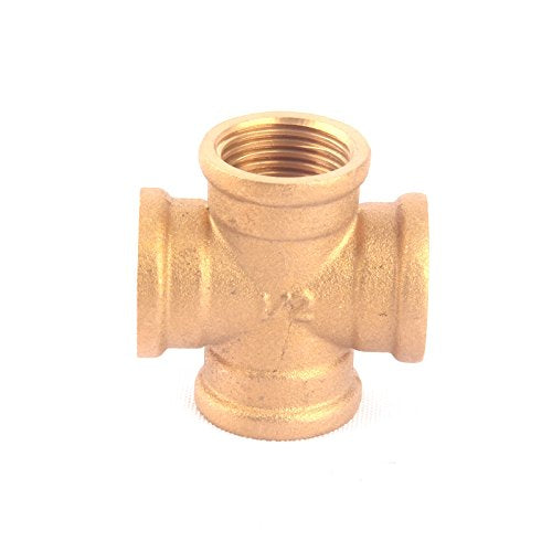Best Garden Tools 1pc 1/2 Inch Female Thread Copper Cross Fitting Home Garden Hose Splitter Brass 4 Way Connector