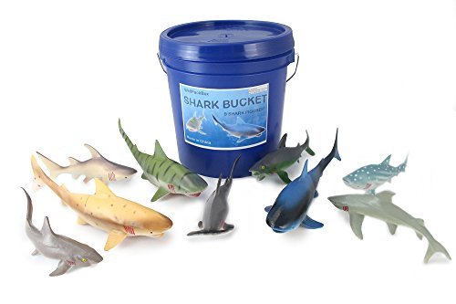 Well Pack Box Big Blue Bucket 9 Large Shark Toy Animal Figures For Toddlers Kids Boy Girls Party Supplies Bath Tub Adventures