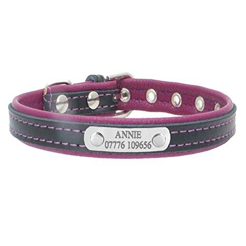 28db075fa937 Personalized Engraved Dog Collar Custom Leather Puppy Cat Pet Collars With Name  Plate Phone ID Tag