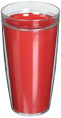 Kraftware Double Wall Insulated 24-Ounce Acrylic Drinkware, Red, Set of 4