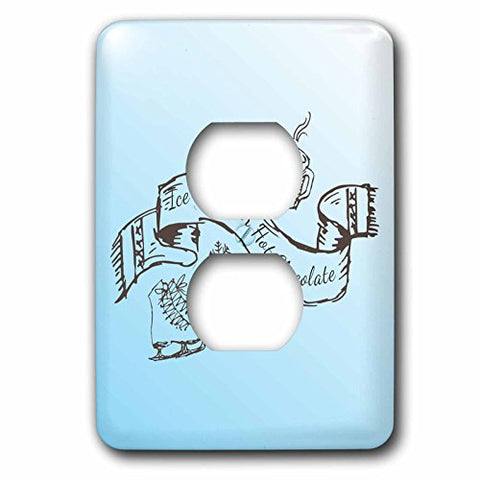 TNMGraphics Winter - Ice Skates Hot Chocolate and Winter Scarf - Light Switch Covers - 2 plug outlet cover (lsp_224850_6)