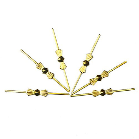 H&D 300pcs Chrome Bow Tie Clips Metal Butterfly Clips for Fastening Crystals, Chandelier Crystals, Lamp,Ceiling Light Crystals (45mm, Golden)