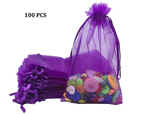 "Wholesale100 pcs 3.7""x5.9"" Purple Organza Bags Wedding Favor Pouches Packing Bags Party Gift Bags Candy Bag Jewelry Pouch Drawstring Bags Supplies,Sheer Bags,Mix color Gift Bags LOW Price"