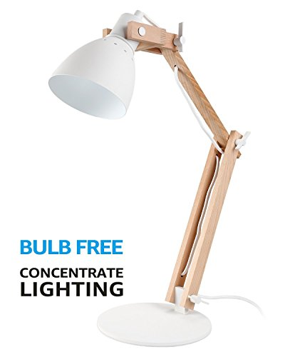 Natural Wood Swing Arm Desk Lamp Integrated Led Table Light Heavy