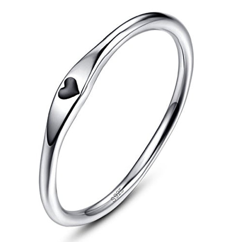 Avecon 925 Sterling Silver Love Heart Design Eternity Wedding Band Engagement Ring Jewelry Size 6
