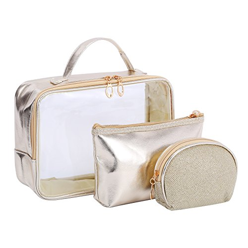 63a9448d2ba7 HOYOFO Cosmetic Travel Bag Set Clear PVC Toiletry Zip Makeup Bags Pack of  3, Gold