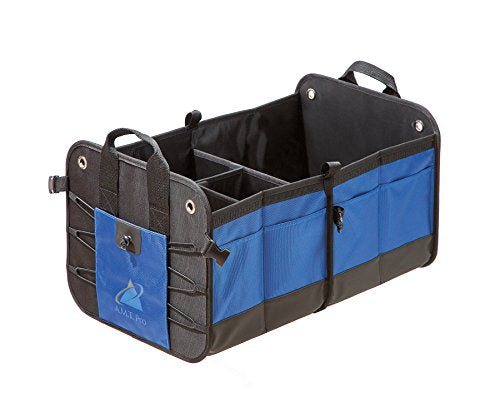 Premium Auto Trunk Organizer Car Storage Solution by AMT Pro|SUV Cargo Travel Bag with Multiple Compartments|Collapsible Truck Tool Box|Foldable Interior Accessories (Blue-Black)