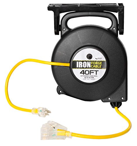 Retractable Extension Cord Reel >> 40 Ft Retractable Extension Cord Reel 2 In 1 Mountable Portable