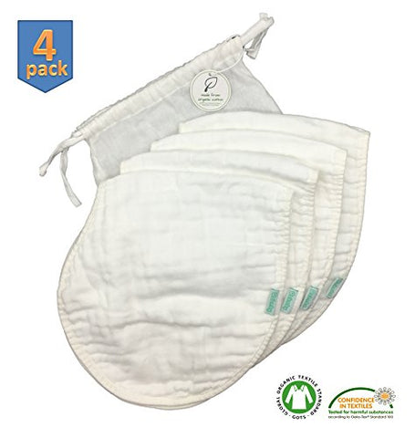 All-in-one 8-ply Organic Cotton Muslin Burp Cloths and Burp Bibs (4-pack) - super absorbent, breathable & durable to protect you & your little one – Perfect Baby Shower Gift (White set)
