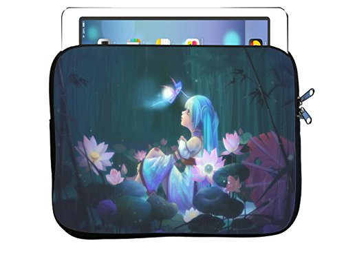 Trendy Accessories Fantasy Art Mystical Forest Flower Fairy Girl 8.5x11 inch Neoprene Zippered Tablet Sleeve Bag by for iPad, Kindle, Tab, Note, Air, Mini, Fire