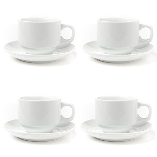 Huji Fine Porcelain 4 oz. Espresso Turkish Tea Coffee Cups and Saucers Drinkware Gift Set (4 Cups, 4 Saucers)