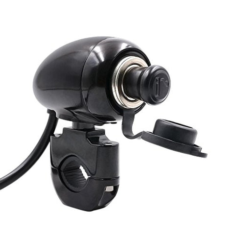 Usstore 12V Motorcycle Handlebar Cigarette lighter Mount Marine Volt Power Outlet (Black)