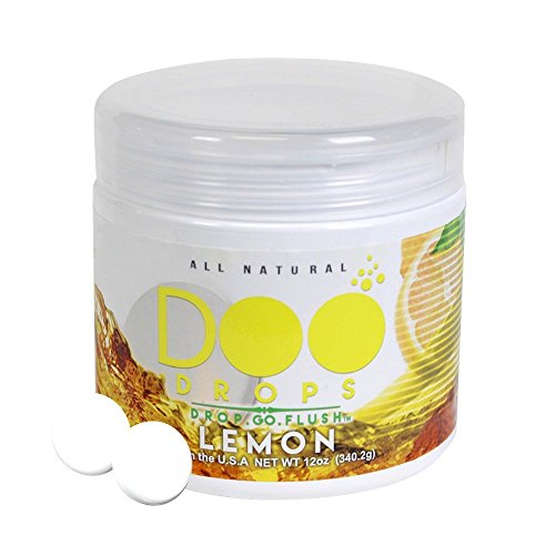 NEW- Lemon Doo Drops- Toilet Odor Eliminating Tablets -Drop Go Flush / Home  & Office / Traps the smell so no one can tell- 50 Flushes / Professional
