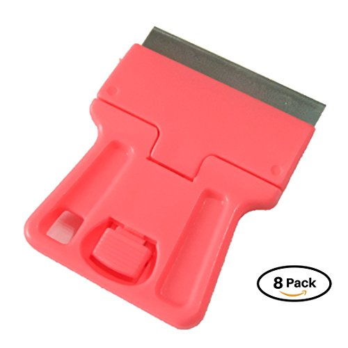 SOLARDIAMOND Heavy Duty Multipurpose Mini Razor Blade Scraper Tool For Stovetop Cooktop Glass Ceramic Metal Scraper - Sticker Glue Paint Adhesive Decal Scraper | 8 Pack