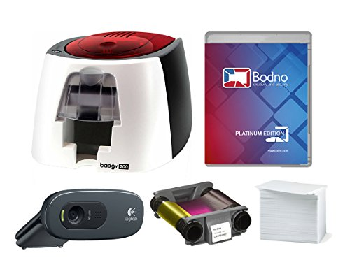 Badgy200 Color Plastic ID Card Printer & Complete Supplies Package with Bodno Platinum Edition ID Software