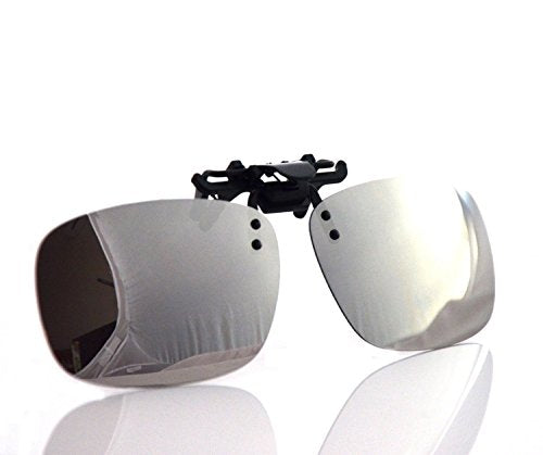 24eaec929a4 Besgoods Cool Siver Mirror Polarized Clip-on Flip up Plastic Sunglasses  Lenses Glasses Outdoor Driving