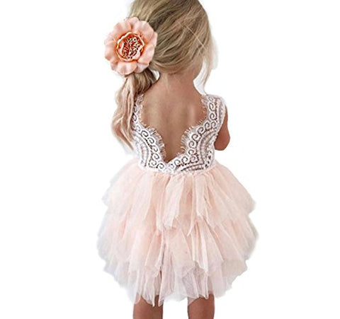 Backless A-Line Lace Back Flower Girl Dress (6-12 Month, Pink)