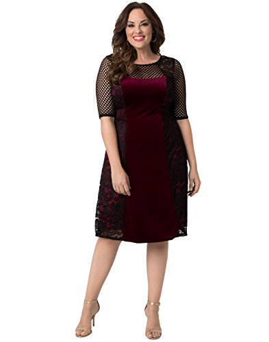 d16307aabf3 Kiyonna women plus size mixed lace cocktail dress black lace with bordeaux  lining jpg 393x500 Kiyonna
