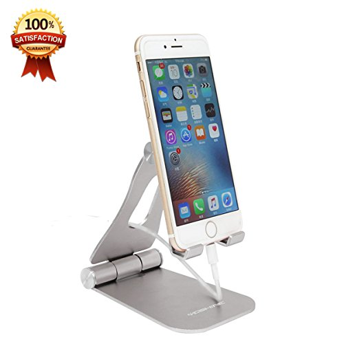 [Updated Solid Version] Desktop Cell Phone Stand YoShine iPhone Stand Tablet Stand Solid Aluminum Cell Phone Holder for Mobile Phone (All Size) and Tablet (Up to 10.1 inch),Phone Accessories - Silver